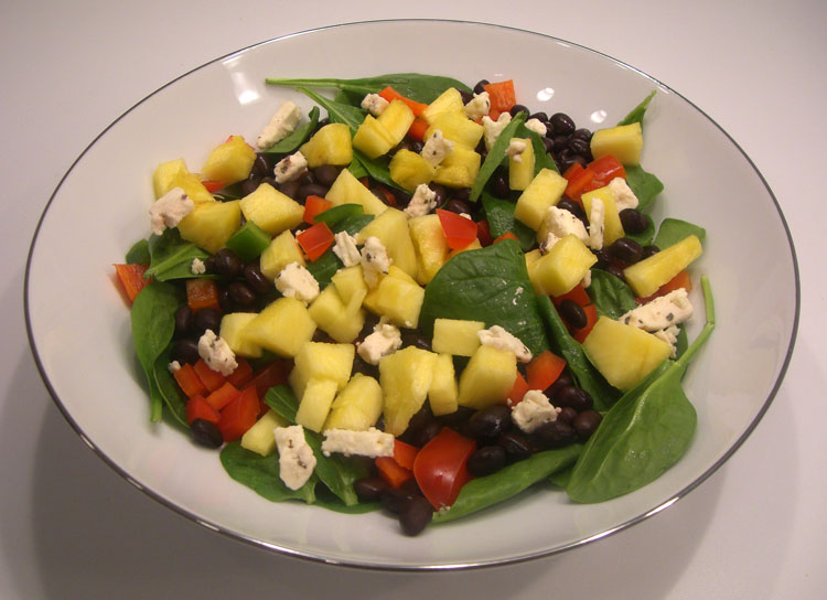 Black Bean Pineapple Spinach Salad
